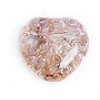 Glass Bead Cracked 8mm Heart Beige Dyed - Strung